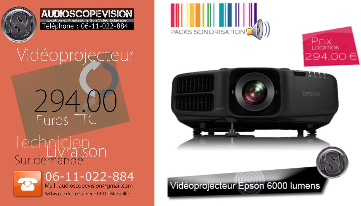 Cherche à louer, à la location, vidéoprojecteur 6000, 7000, 8000, 9000 lumens Marseille, 13, aubagne, Aix en provence