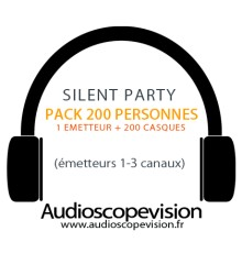 Location Pack Silent Party Disco 200 personnes, émetteur 3 canaux Nice